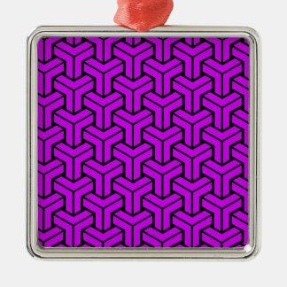 Purple Geometric Pattern Silver-Colored Square Decoration