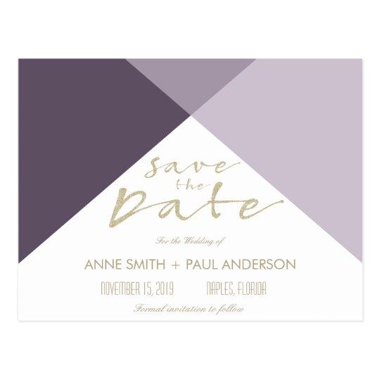 Purple geometric Save the Date Postcard