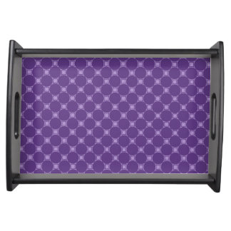 Purple Geometric Square, Circle Pattern Serving Tray