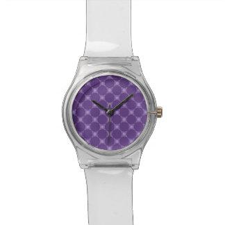 Purple Geometric Square, Circle Pattern Watch