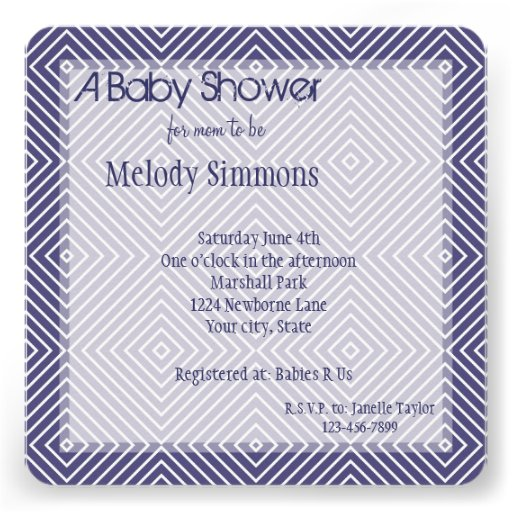 Purple Geometric Squares Baby Shower Personalized Announcement