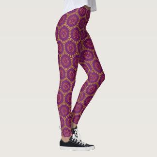 Purple Geometric Swirl Pattern Leggings
