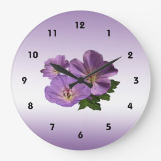 Purple Geranium Flowers Wall Clocks