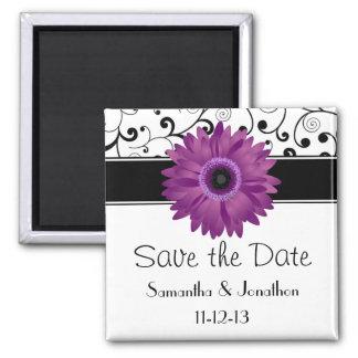 Purple Gerbera Daisy Black Scroll Save the Date Fridge Magnet