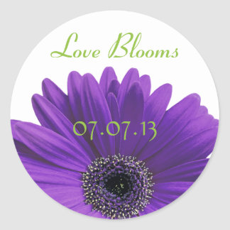 Purple Gerbera Daisy Love Blooms Wedding Stickers