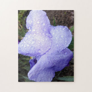 Purple German Iris And Some Raindrops Jigsaw Puzzle