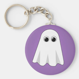 Purple Ghost Basic Round Button Key Ring