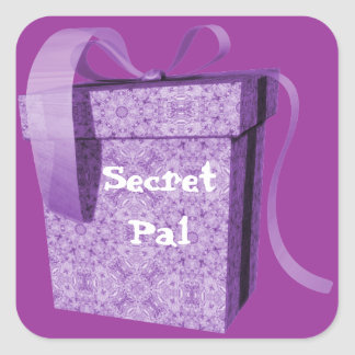 Purple Gift Box Ribbon Secret Pal Tag Stickers