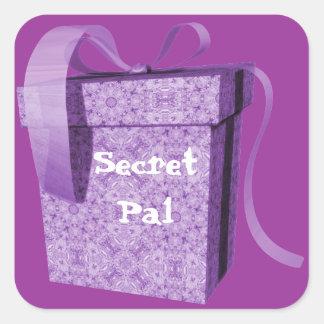 Purple Gift Box Ribbon Secret Pal Tag Stickers