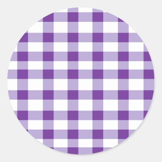 Purple Gingham Classic Round Sticker