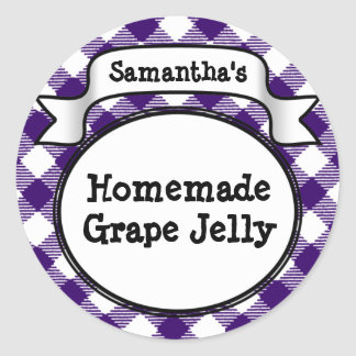 Purple Gingham Grape Jelly Jam Jar/Lid Label