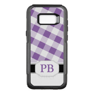 Purple Gingham Monogram Samsung Galaxy S8