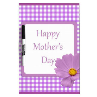 Purple Gingham Mothers Day Dry Erase Board