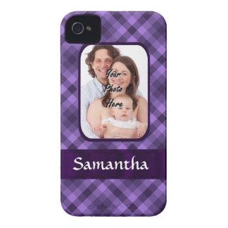 Purple gingham pattern Case-Mate iPhone 4 case