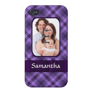 Purple gingham pattern iPhone 4 covers