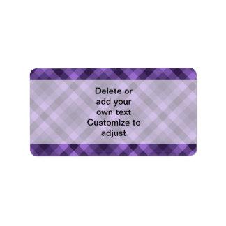 Purple gingham pattern label