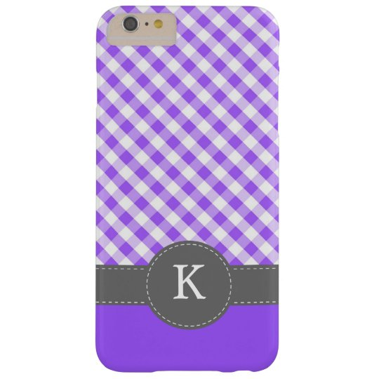 Purple Gingham Pattern Monogram Barely There iPhone 6 Plus Case