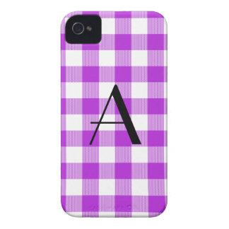 Purple gingham pattern monogram iPhone 4 Case-Mate cases