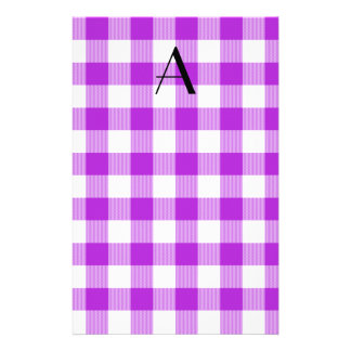 Purple gingham pattern monogram stationery paper