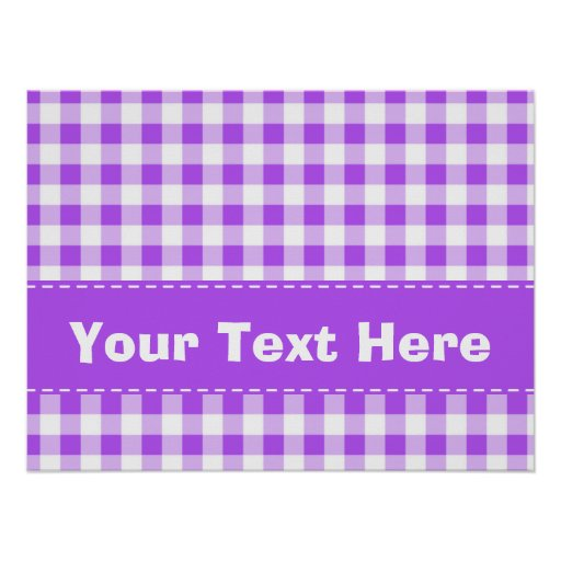 Purple Gingham Pattern Posters