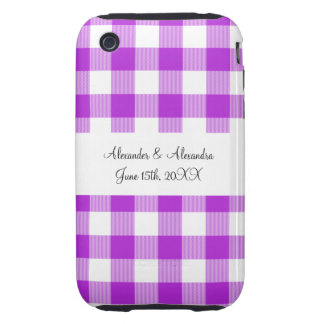 Purple gingham pattern wedding favors tough iPhone 3 cover