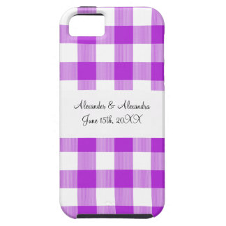 Purple gingham pattern wedding favors iPhone 5 case