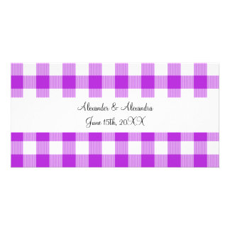 Purple gingham pattern wedding favors customized photo card