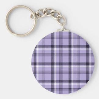 Purple Gingham Plaid Key Chain