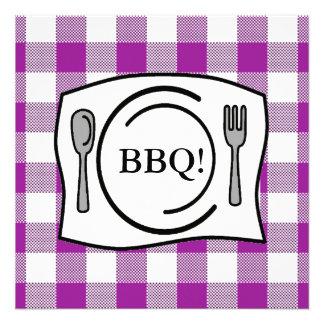 Purple Gingham Tablecloth BBQ Custom Invites