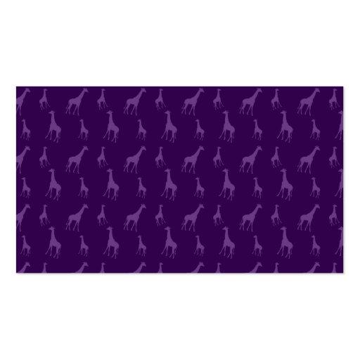 Purple giraffe pattern business card template