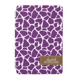 Purple Giraffe Pattern Personalized iPad Mini Cover