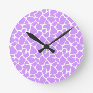 Purple Giraffe Pattern Round Clock