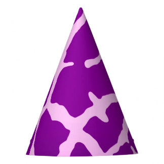 Purple Giraffe Print Party Hat