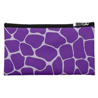 Purple Giraffe Print Sueded Medium Cosmetic Bag