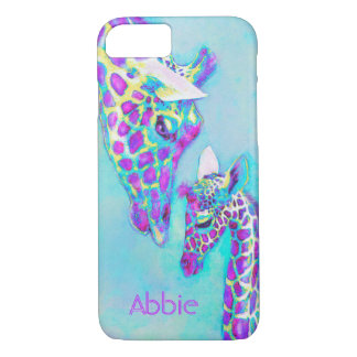 purple giraffes-moma and baby iPhone 8/7 case