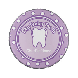 Purple Girl Baby Tooth Fairy Tin Jelly Belly Candy Tin