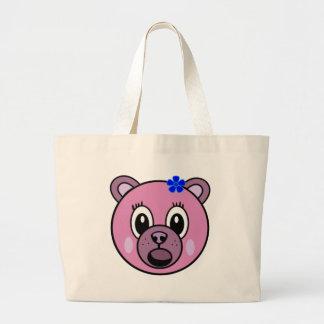 Purple Girl Bear Large Tote Bag