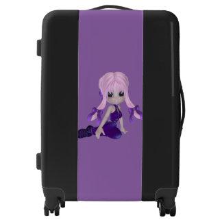 Purple Girl Medium Sized Luggage Suitcase