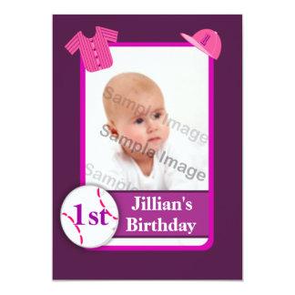 Purple Girls Photo Baseball Card Birthday Party 13 Cm X 18 Cm Invitation Card