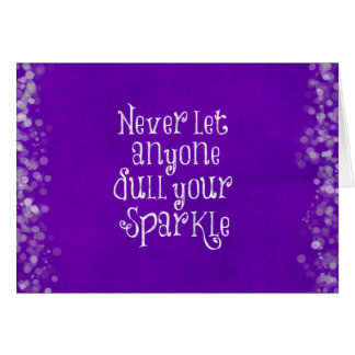 Purple Girly Inspirational Sparkle Quote Card