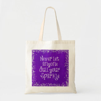 Purple Girly Inspirational Sparkle Quote Tote Bag