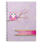 purple Girly Owl Cloud patterned Notebook