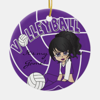 Purple Girly Volleyball Christmas Ornament