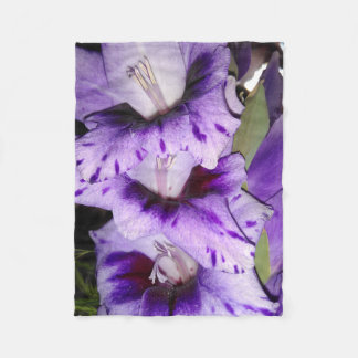 Purple Gladiolus Flolwers Fleece Blanket