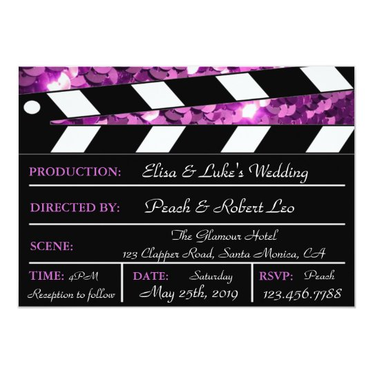 Purple Glamour Clapper Board Wedding Invite