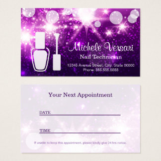 Purple Glamour NAIL TECHNICIAN Appointment Card