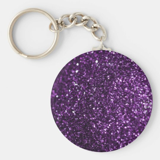 Purple Glimmer Basic Round Button Key Ring