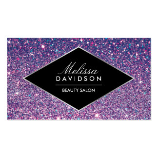 Purple Glitter and Glamour Beauty Business Card
