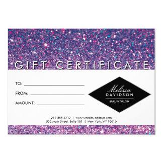 Purple Glitter and Glamour Salon Gift Certificate 11 Cm X 16 Cm Invitation Card