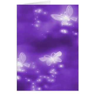 Purple , Glitter and  White Butterflies Card